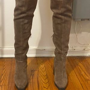 Leather and Suede thigh high brown boots